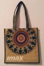 India Jute Burlap Tote Shoulder Bag Colorful Flower Motif  IMAX Imports