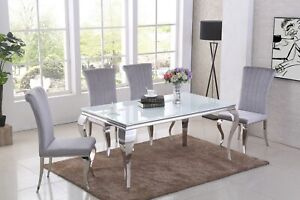 160cm white glass dining table and 6 grey velvet chairs
