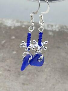 Cobalt blue sea glass dangle earrings