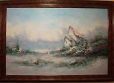AMERICAN SCHOOL LANDSCAPE OIL ON CANVAS SIGNED WITH  WOOD FRAME