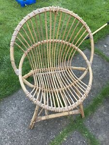 Vintage small Children's peacock wicker chair retro, boho, 1970's