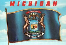 Michigan Flag, 26th State Admitted to Union 1837 Capital Lansing etc MI Postcard