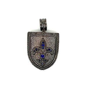 925 Sterling Silver Mens Sapphire Fleur De Lis Pendant