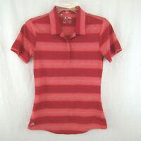 Adidas Womens Red Heathered Stripe Polo Shirt Short Sleeve Size XS Horizontal