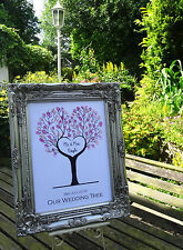 A3 Personalized Wedding heart shape fingerprint tree, ink pad and sign