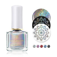 6ml BORN PRETTY Holographisch Stempel Nagellack Silber Nail Art Stamping Polish