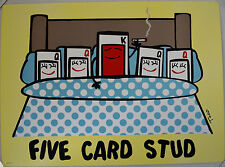 TODD GOLDMAN FIVE CARD STUD LITHOGRAPH LOW BROW SIGNED #33/350 W/COA