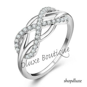 WOMEN'S 925 STERLING SILVER INFINITY KNOT FRIENDSHIP LOVE PROMISE RING SIZE 5-10