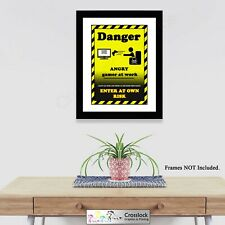 Angry Gamer At Work Photo Gaming Poster Print ONLY Wall Art A4