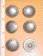 6 SILVER ROUND SPIRAL DESIGN CONCHO FOR HATS, BELTS, CHAPS, BOOTS