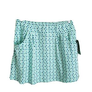 Title Nine Breeze Skirt Size L New Blue Watercolor Polka Dot Pockets Stretch