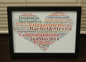 Personalised word art Engagement, Keepsake Print / Print & frame Unique Gift