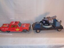 Vintage Japan tin litho  Military Truck with Pom Pom Guns and Fire Chief Car