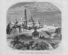 Stampa antica TROICK Troitsk Monastero RUSSIA 1860 Antique print античный печать