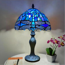 Tiffany Style Blue Table Desk/Bedside Home Lamps Stained Glass Rose Decor Light