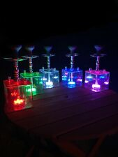 More details for modern acrylic hookah with changing led colours. square shisha clean smoke