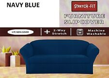 JERSEY STRETCH - 1 Pcs Sofa Slipcover / Sofa Cover Solid NAVY BLUE COLOR