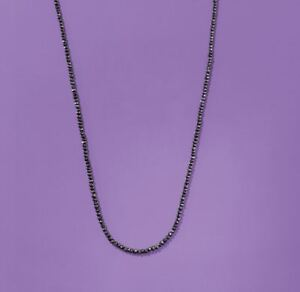 Black Diamond Bead IGL Certified Necklace AAA Bold, 21.0 Ct. 925 Sterling Silver