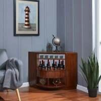 Corner Bar Rotating Wine Bar Cabinet Vintage Storage Wood Modern