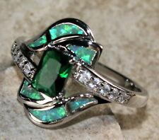 SILVER Elegant Green Fire Opal & Green Peridot Size 6 Ring Woman Gift WR40603
