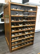 New listing Antique 9 Drawer Thread Cabinet Glass Fronts all original