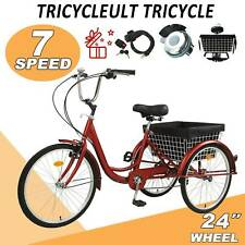 24 Inch Trike 7 Speed Adult Tricycle 3-Wheel Bike w/Basket for Shopping Red Gift
