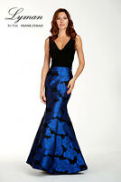 New FRANK LYMAN UK Size 14 BLACK / BLUE MAXI EVENING  DRESS / BALL GOWN BNWT