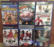 Playstation 2 Sports 6 x games bundle/JOB LOTTO CALCIO, GOLF, Rugby & Pallavolo.