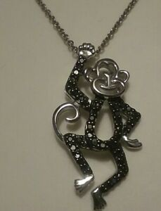 "38 BLACK DIAMONDS 925 STERLING SILVER MONKEY PENDANT/ NECKLACE 18"" KAY'S"