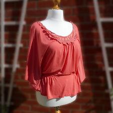 BNWT XL corail Crochet Dentelle Chauve-Souris Gypsy Boho Top Olive & Olivia UK18-20 Summer
