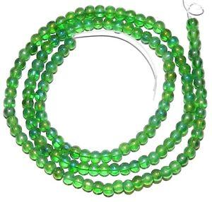 "G2922 Green AB Transparent 3mm Round Glass Beads 16"""