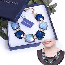 Sea Blue Crystal Statement Necklaces Chokers Bib Free Shipping Fashion Jewery