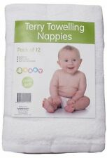 Baby Terry Towelling Nappies Infant Newborn Cloth Cotton Nappies Nappy 12 PACK