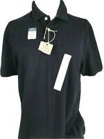 St. Johns Bay Legacy Pique Mens M Medium Solid Black Short Sleeve Cotton Polo