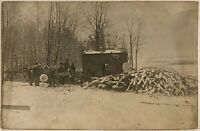 Real Photo Postcard RPPC Men At Work At Logging Camp Occupation Loggers Lumber