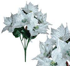 "Silver Poinsettia 21"" Bouquet Christmas Decor Artificial Flower Home Office Fake"