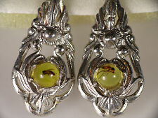 Genuine Vintage Baltic Amber 925 Strg Silver Earrings with Insect FLY (005)