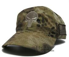 KRYPTEK Punisher Skull Beige camo Hat Cap Military US Flag patch Highlander
