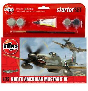 Brand New Airfix 1:72nd Scale North American Mustang Mk.IV Starter Set.