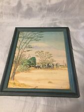 Vintage Framed Painting Watercolour Elephants