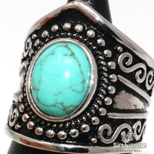 Hand Carved Blue Turquoise Ring Women Boho Jewelry Gift 925 Tibetan Silver