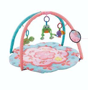 Pink&Blue Baby Playmat Fun Flower Pond Nature Activity Play Mat W/ Sensory Toys