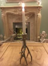 New Metal Silver Stag Antler Horn Candle Holder Candelabra Table Centre Piece