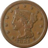 1851 1c Braided Hair Large Cent Penny Coin VG Very Good