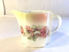 """Antique Ironstone Ceramic Pitcher w Peonies/Roses Creamer Germany 3.75"""" Tall"""
