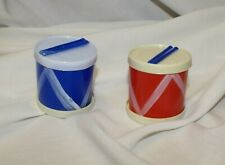 Vintage 1950's Toy Drum Set Red White Blue Patriotic Hand Painted Hong Kong 2""