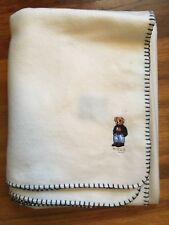Ralph Lauren Polo Bear Blanket Throw Fleece Ivory cream 52 x 71