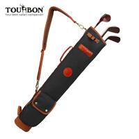 Tourbon Vintage Golftasche Wasserdicht Canvas und Leder Golf Pencilbag Schwarz