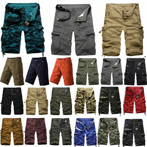 Mens Military Cargo Multi Pockets Shorts Army Camouflage Summer Casual Bottoms