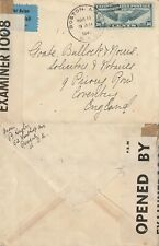 US 1941 WARTIME CENSORED FLOWN COVER BOSTON MASS TO COVENTRY ENGLAND